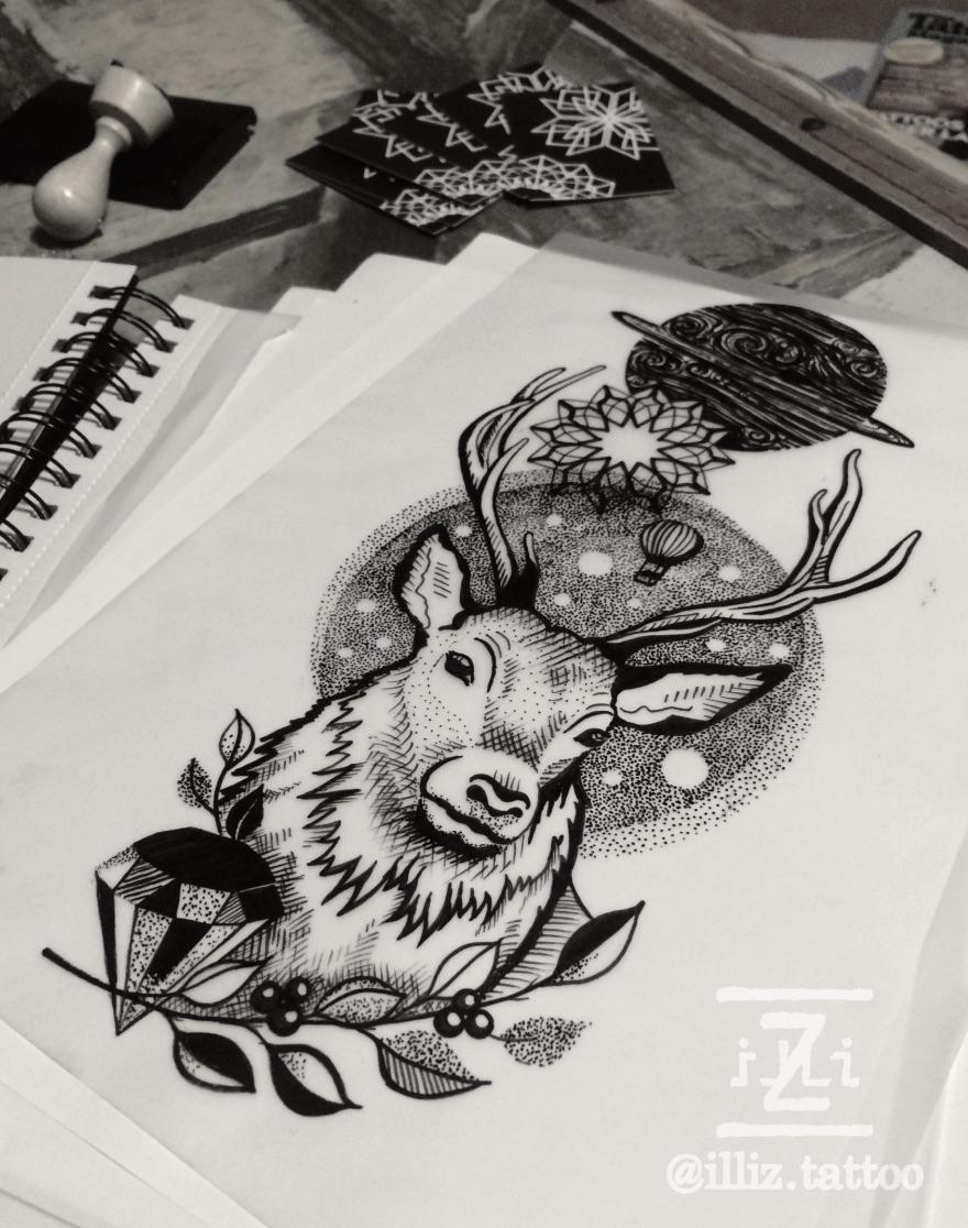 amazing-deer-tattoo-design-by-illiz-tattooartist-mallorca-hamburg