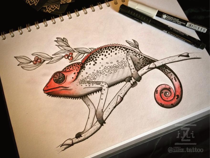 chamaeleon-tattoo-design-black-red-hamburg-mallorca-iiliz