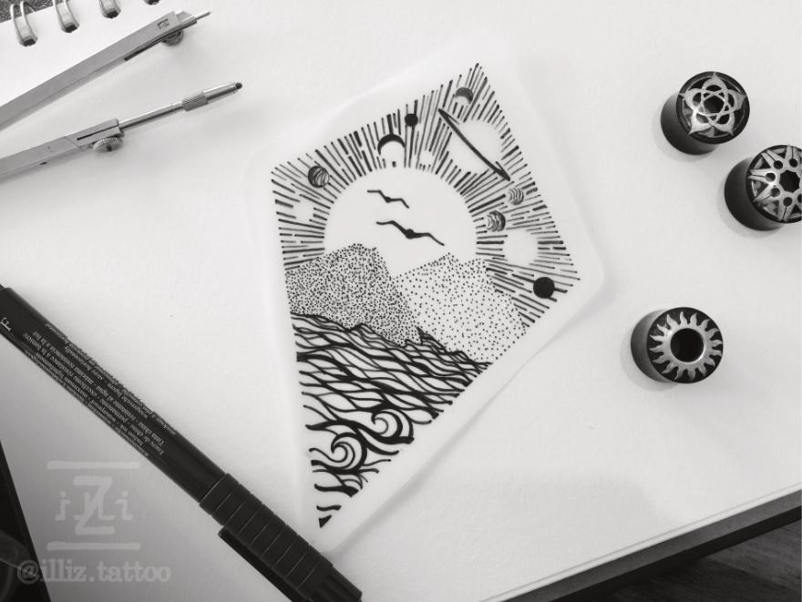 landscape-space-tattoo-design-dotwork-ocean-WS-880